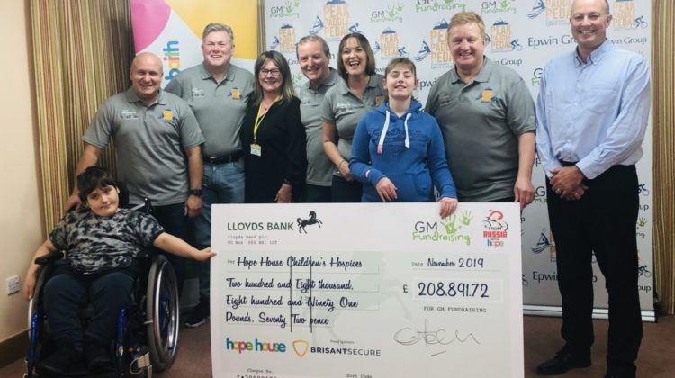 Cheque presentation made to Hope House Children's Hospices by GM Fundraising